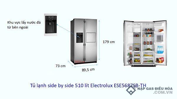 Kích thước tủ lạnh Side by Side Electrolux (510 lít)