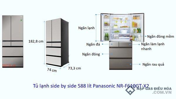 Kích thước tủ lạnh Side by Side Panasonic (588 lít)