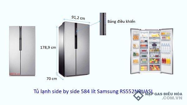 Kích thước tủ lạnh Side by Side Samsung (584 lít)