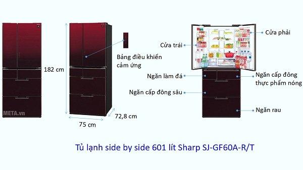 Kích thước tủ lạnh Side by Side Sharp (601 lít)