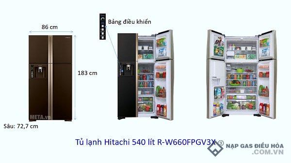 Kích thước tủ lạnh Side by Side Hitachi (540 lít)