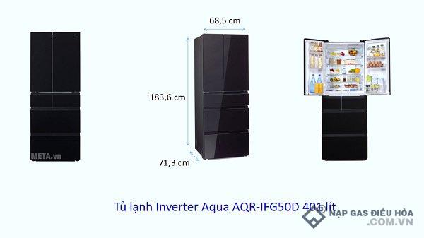 Kích thước tủ lạnh Side by Side Aqua (401 lít)