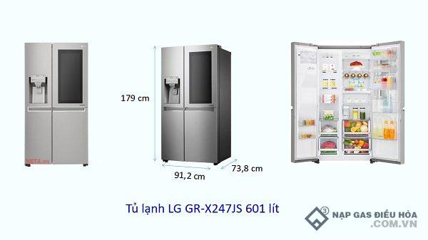 Kích thước tủ lạnh Side by Side LG (601 lít)